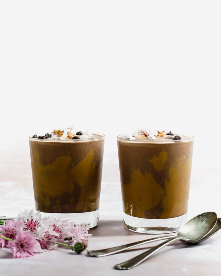 Recipe to make a chocolate and peanut butter dessert smoothie that secretly also contains veggies! So good and kids will love it, too!