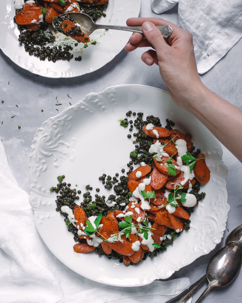 Moroccan Spiced Carrots with Black Lentils