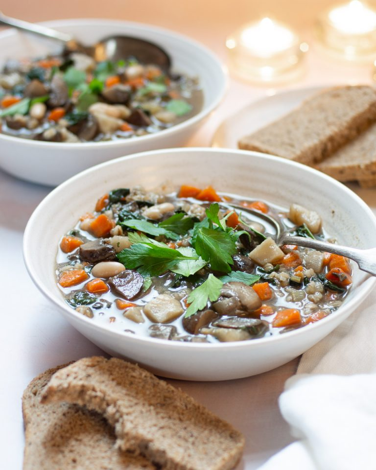 Recipe for a hearty barley stew that is plant-based